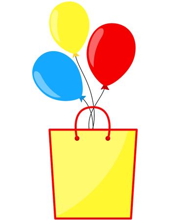Shopping bag and balloons blank banner