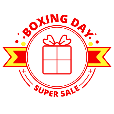 Boxing day sale banner and sticker in red and yellow colors