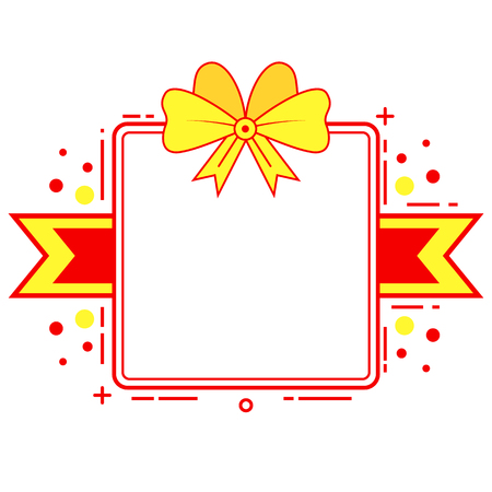 Red and yellow gift themed ribbon banner Illustration
