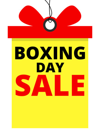 Boxing day sale banner in tag shape Illustration