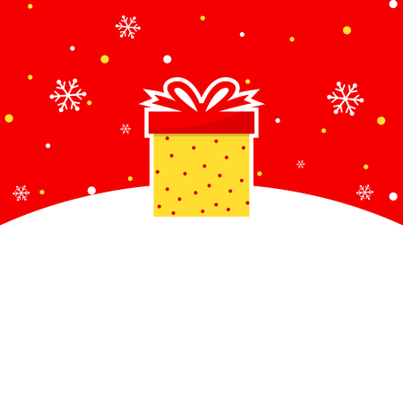 Yellow and red winter themed banner with gift box.