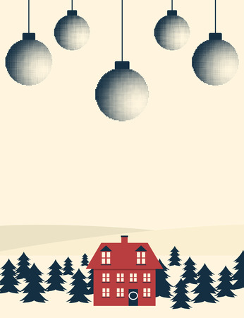 Retro style Christmas themed banner with winter landscape. Illustration