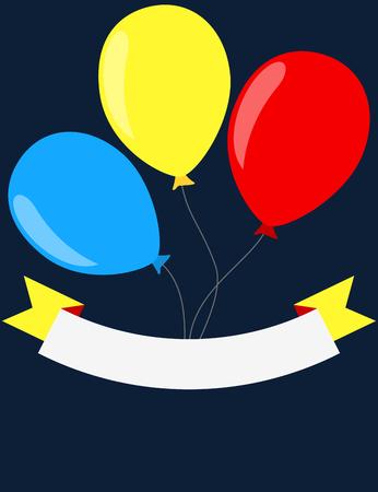 Balloons and blank ribbon poster design. Illustration
