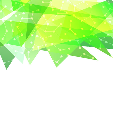 Abstract modern green border with connected dots.