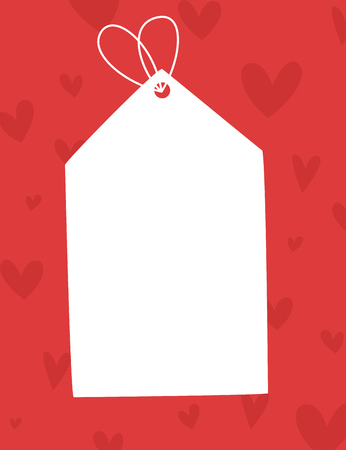 Blank white sale tag on red with hearts.