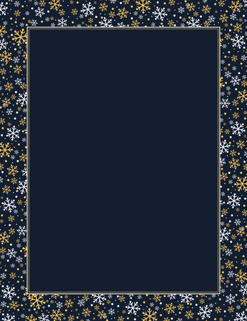 Gold and white snowflakes winter themed frame.