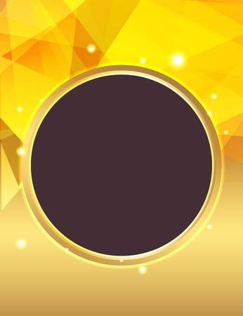 Golden geometric shapes glowing background illustration.