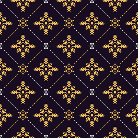 Gold and white snowflakes seamless pattern on black background. Illustration