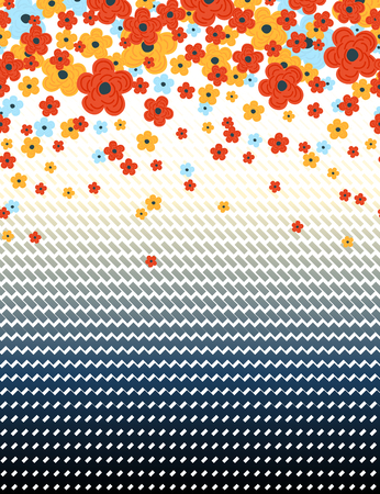 Floral and geometric shapes horizontal seamless pattern.