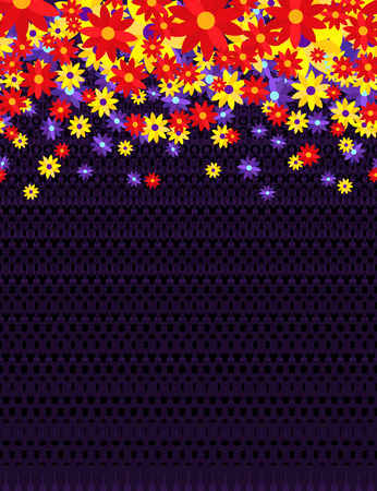 Vibrant floral border horizontal   pattern