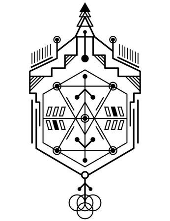 Abstract magical geometric totem design illustration. Illustration