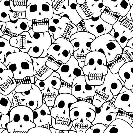 Skulls black and white seamless pattern Illustration