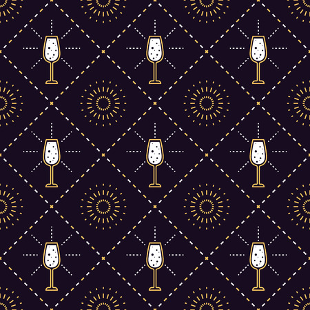 Champagne glass luxury style golden lines pattern.