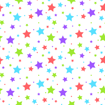 Colorful stars and dots seamless pattern