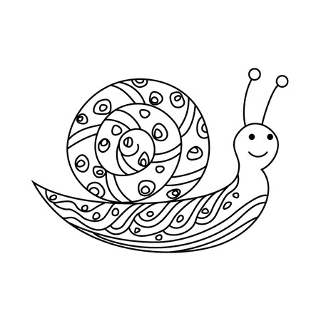 Cute snail drawing icon on white background illustration.