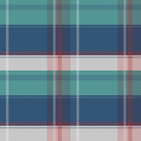 Plaid seamless pattern in green blue and gray colors with red and white lines.