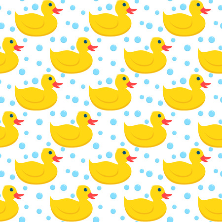 Yellow rubber ducks and blue bubbles seamless pattern. Illustration