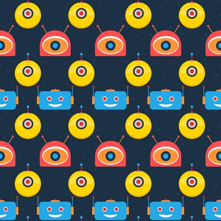Colorful robot heads dark seamless pattern