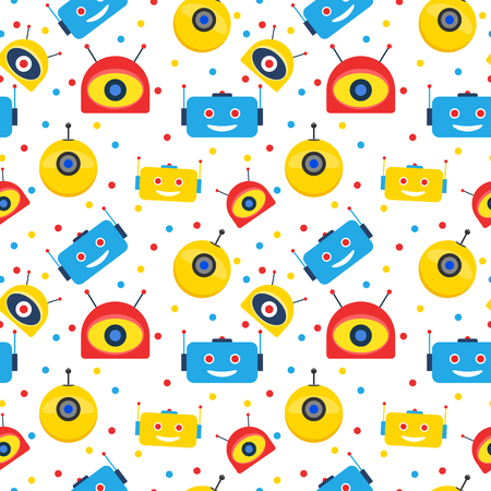 Colorful robot heads and dots seamless pattern