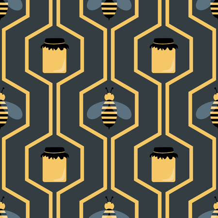 Bees and honey jars seamless pattern