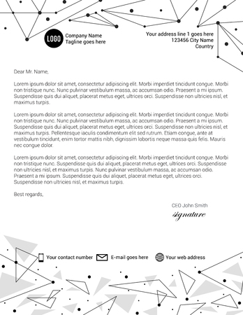 Monochrome triangle shapes and lines letterhead template Illustration