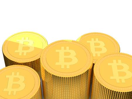 3D golden Bitcoin coin stacks