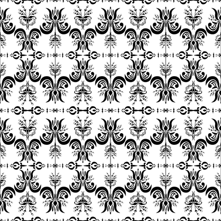Victorian style black and white seamless pattern Illustration