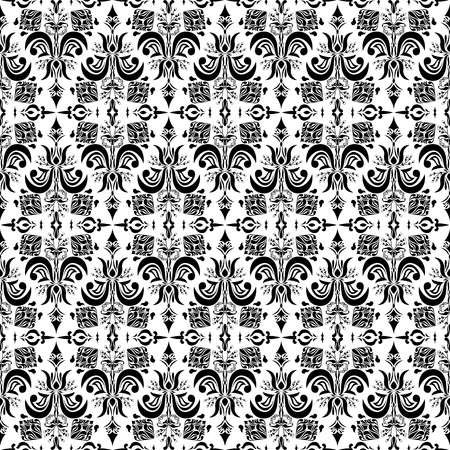 Black and white victorian style seamless pattern Illustration