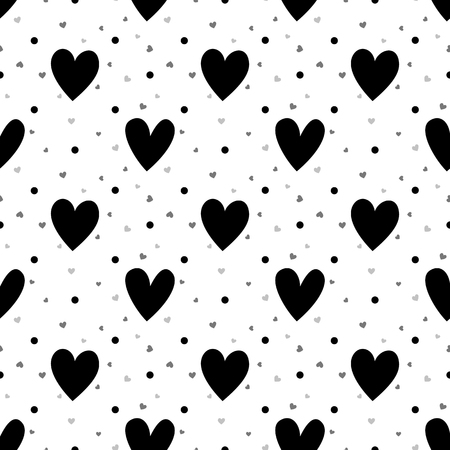 Black and white hearts seamless pattern Illustration