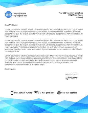 Blue modern corporate style lettehead design