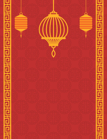 Chinese art style red background with golden lanterns