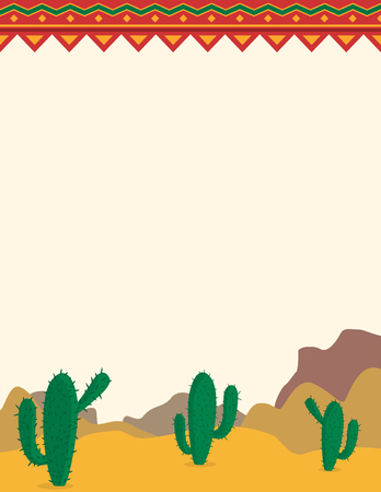 Desert landscape with cacti mexican themed background