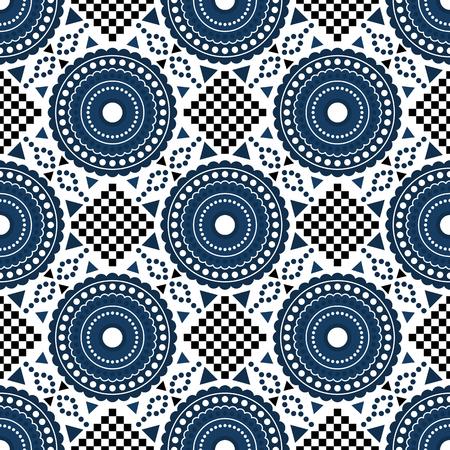 Geometric royal blue and white seamless pattern Illustration