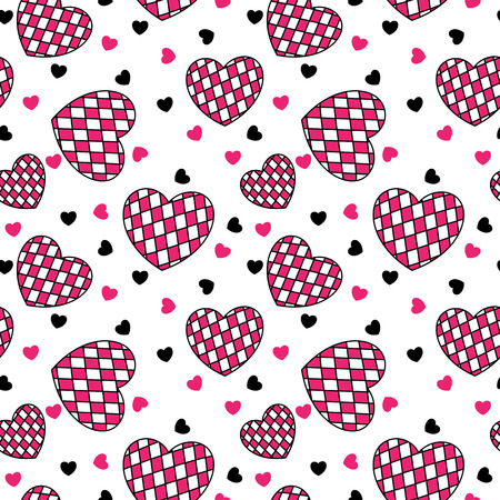Pink and black checkered hearts seamless pattern Illustration