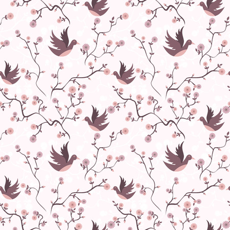 Springtime branches and flowers with birds seamless pattern