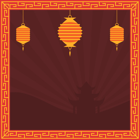 Chinese art style square banner in red and golden colors