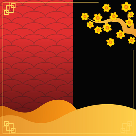 Red and yellow chinese style banner