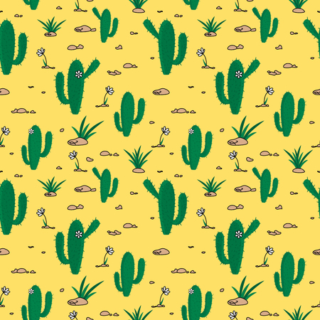 Desert themed seamless pattern with cactus and flowers