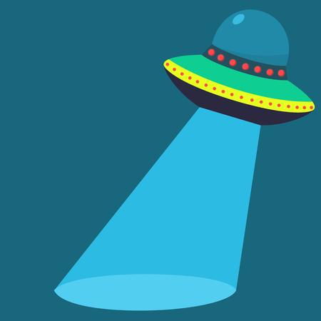 Flat style saucer spaceship banner
