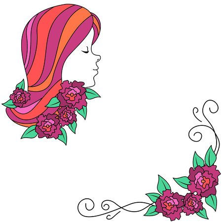 Woman profile and flowers banner