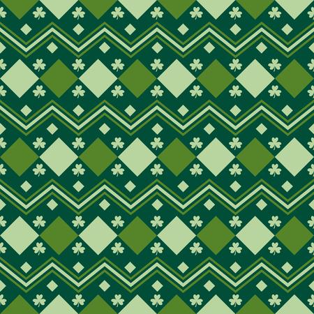 Green Irish geometric seamless pattern with shamrock leaves