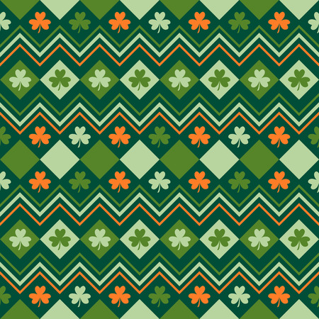 Irish green and orange seamless pattern with shamrock leaves