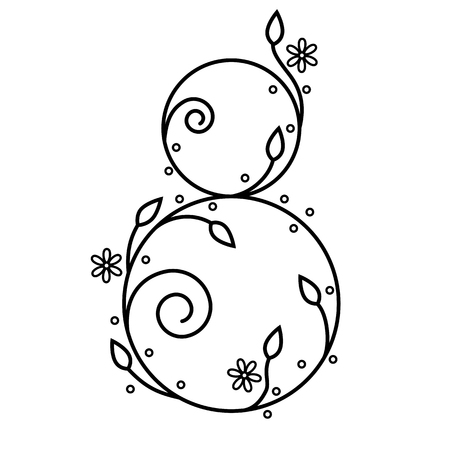 Decorative number eight with floral elements