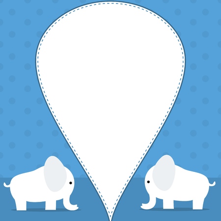Baby themed blue banner with cute white elephants