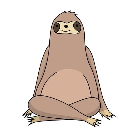 Relaxing cute cartoon sloth Çizim