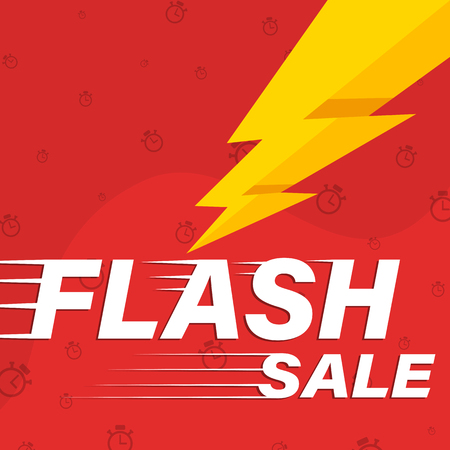 Flash sale red banner with lightning bolt