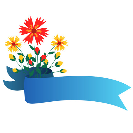 Spring themed floral ribbon banner