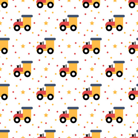Cartoon toy railway engine seamless pattern Illustration