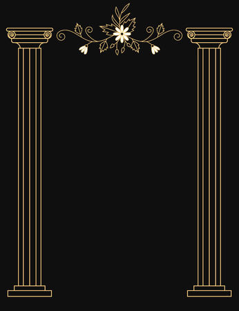 Golden pillars and floral elements luxury wedding card template