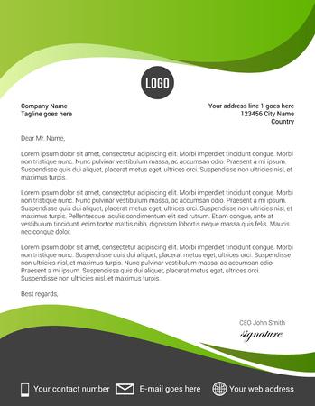 Modèle de papier à en-tête moderne vert et noir